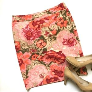 Talbots Pink Floral Cotton Pencil Skirt